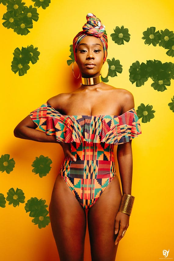 8 Black Owned Swimwear - African Kente Cloth One Piece Swimsuit