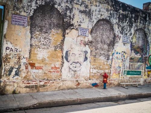 Graffiti Man depicted in Street Art in Cartagena Colombia