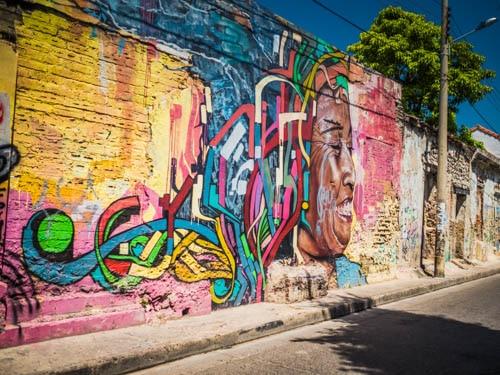 Cartagena Street Art - Black woman, afro latina depicted