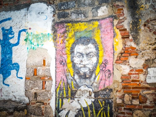 Black Latino man street art in Cartagena Colombia