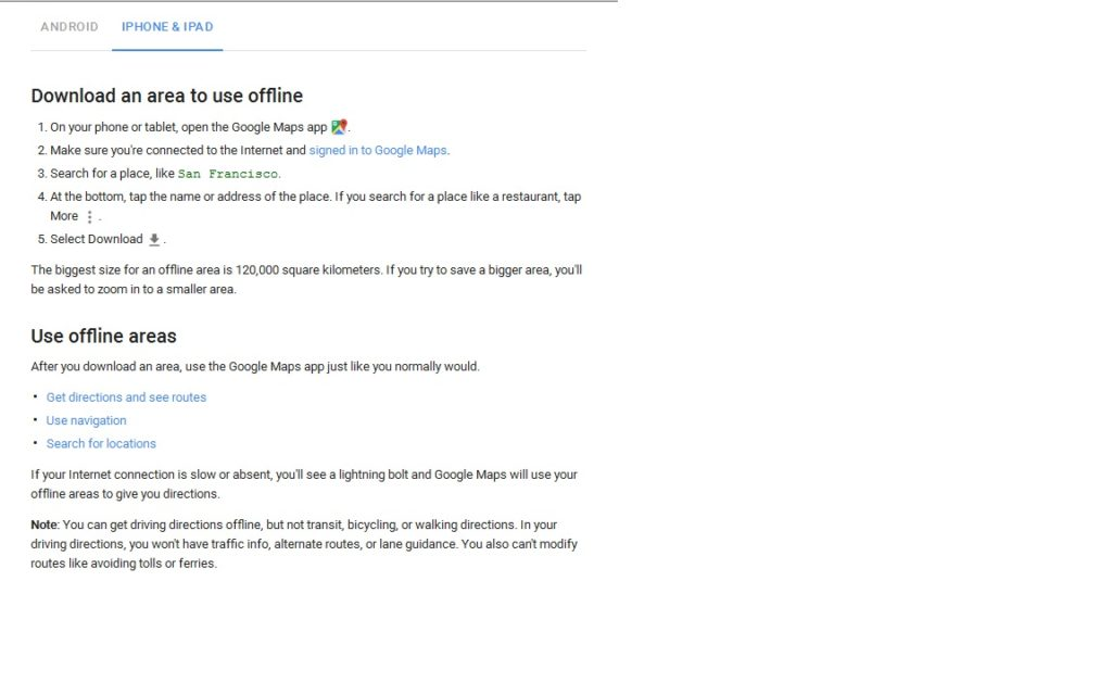 Iphone Directions for Offline Google Maps