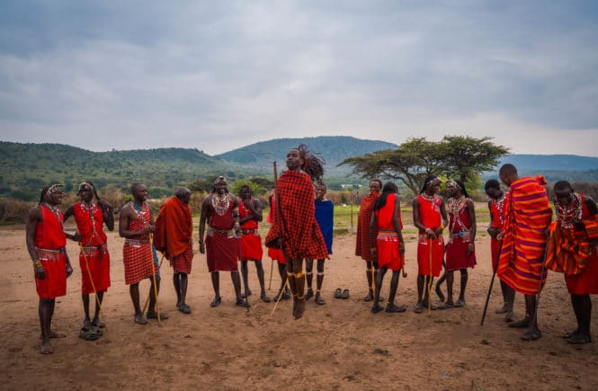 Visiting a Maasai Village - Young Maasai warrior doing the jumping dance FREETOBEBRI.COM